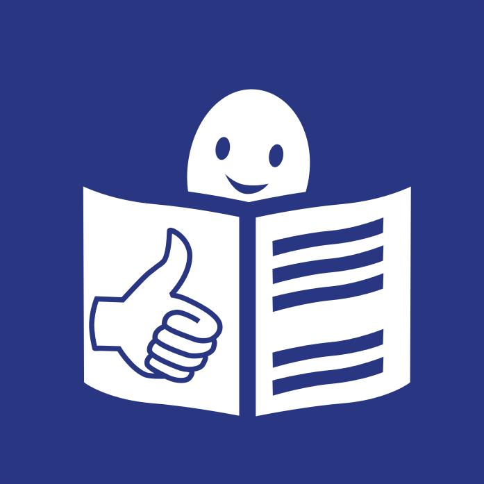 Logo tekstu łatwego do czytania i rozumienia: głowa nad otwartą książką i podniesiony w górę kciuk w geście OK