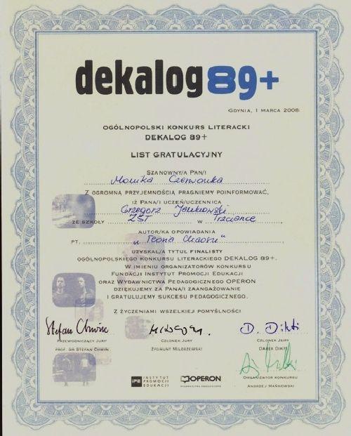 Sukces w ogólnopolskim konkursie DEKALOG 89+