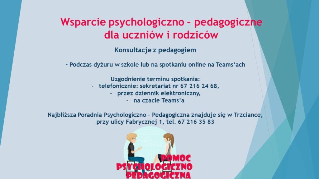 wsparcie psychologiczno - pedagogiczne dla uczniów i rodziców