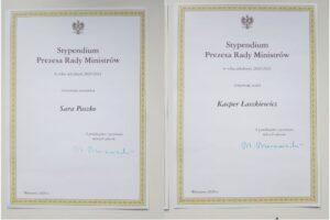 dyplomy stypendystów premiera