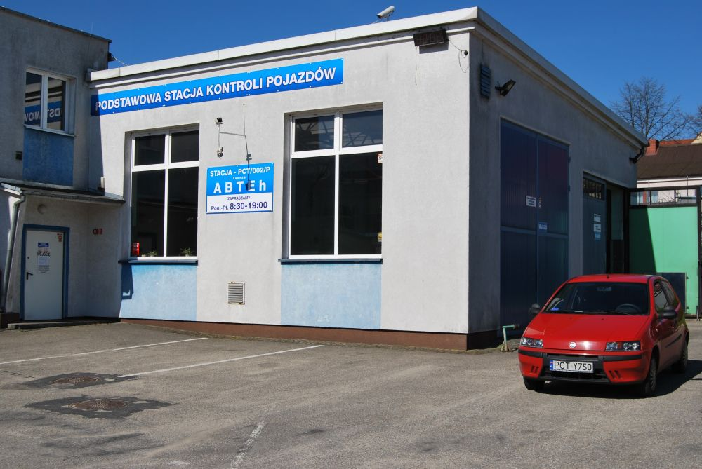 budynek stacji kontroli pojazdów, brama wjzadowa